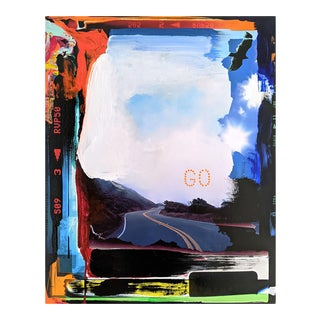 """Contemporary Abstract Photography and Paint on Wood """"Go"""" by Jason Engelund For Sale"""