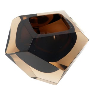 Vintage Brown Faceted Sommerso Ashtray by v. Nason For Sale
