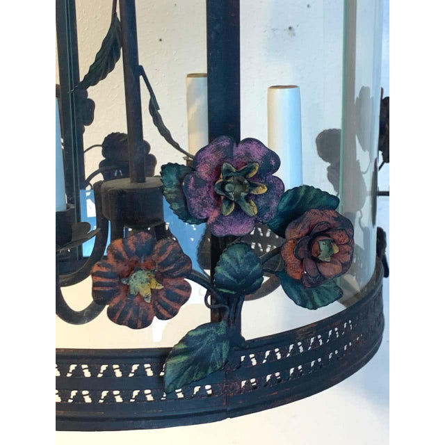 French polychromed tole floral lantern, fitted with four candelabra bulbs up to 60w each.