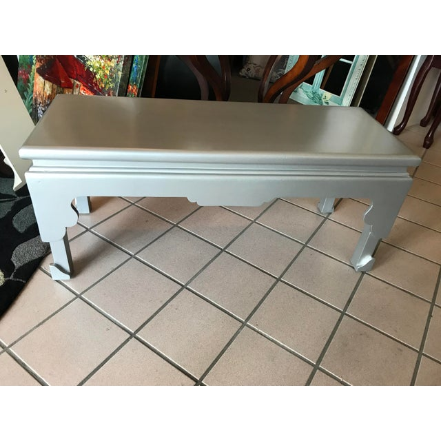 Metal Painted Silver Rectangular Cocktail Table For Sale - Image 7 of 7
