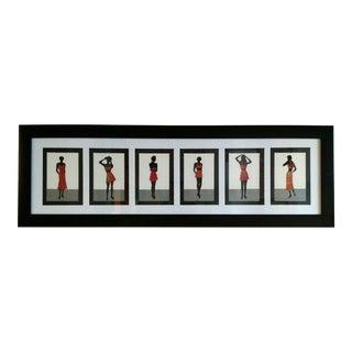 Modern Original Hand-Cut Fashion Silhouette Paper Collage by Wendy Schultz Wubbels For Sale