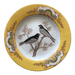 Vintage Chinese Ceramic Decorative Bird Plate For Sale