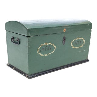 19th Century Swedish Hand Painted Wooden Wedding Trunk Chest For Sale