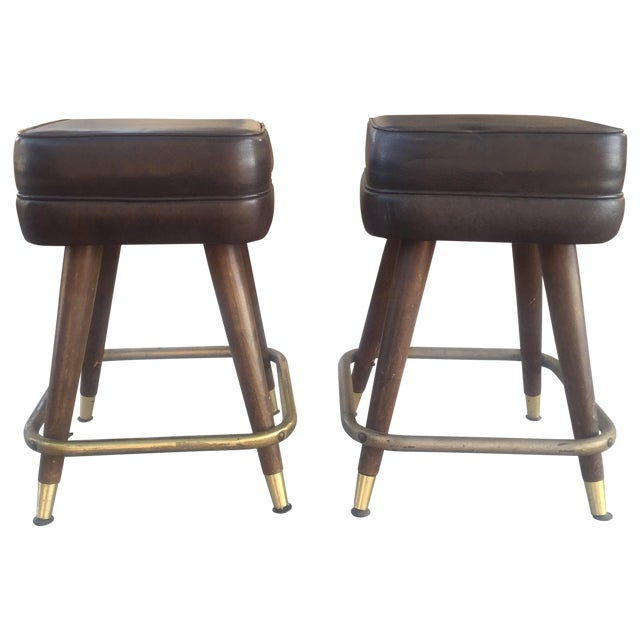 Vintage MCM Bar Stools With Brass Feet - Pair - Image 1 of 4