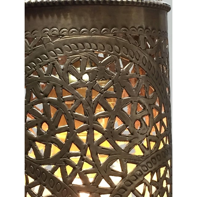 Pair of Moroccan Brass Pendants Lights with Moorish Filigree Designs For Sale - Image 11 of 13