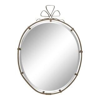 French Brass Ribbon Motif Mirror For Sale