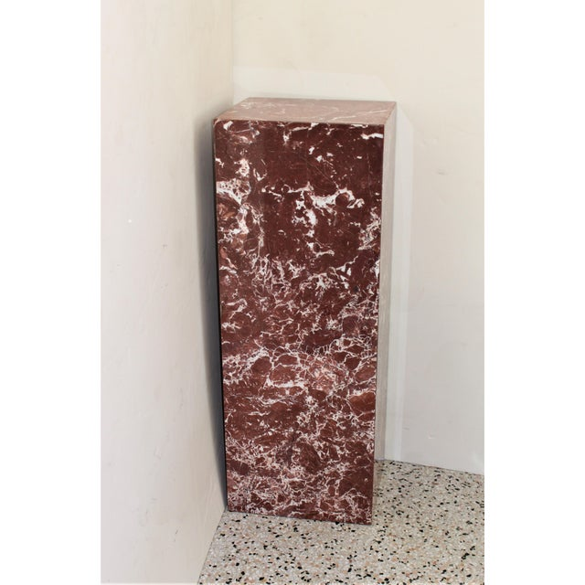 Rouge Marble Pedestal from a Palm Beach estate. NOTE: the last 2 pictures show the Pedestal in a staged setting -- ONLY...