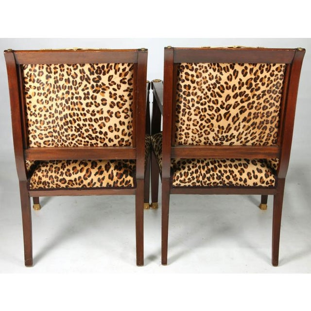 Orange High End Empire Style Chairs With Leopard Fabric- a Pair For Sale - Image 8 of 9