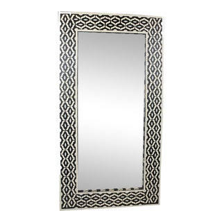 Moroccan Black & White Bone Inlay Mirror - Geo Pattern For Sale