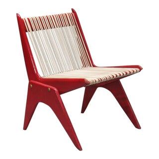 Red Painted Wood and Rope Scissor Chair