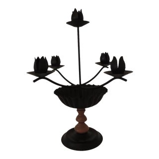 Black Tole and Wood Five Arm Candleholder For Sale