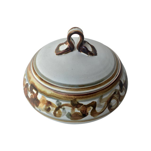 Vintage Studio Pottery Lidded Dish For Sale