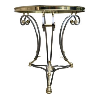 La Barge Hollywood Regency Glass and Brass Side Table For Sale