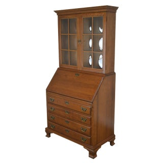 Maddox of Jamestown Solid Cherry Bubble Glass Secretary Desk For Sale