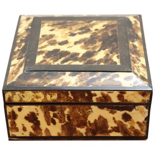 20th Century Italian Wooden Object Box With Tortoise Decoration For Sale