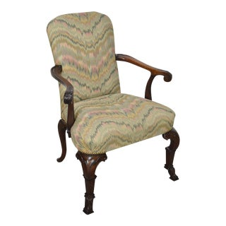 1940s Georgian Style Carved Mahogany Flame Stitch Library Arm Chair For Sale