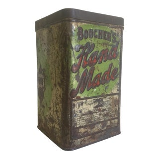 "Rare Vintage Early 1900's ""Boucher's Handmade"" Lithograph Print Tobacco Tin Box For Sale"