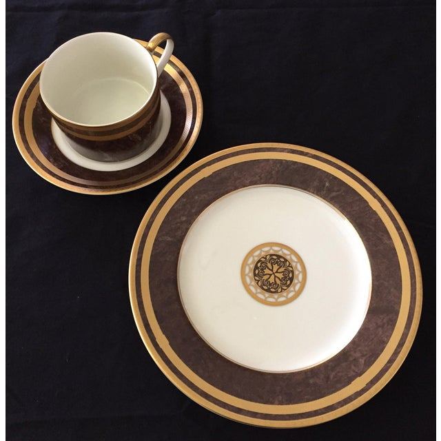 1990s Mahogany Florentine Luncheon or Dessert China Set - 18 Pieces For Sale - Image 5 of 13