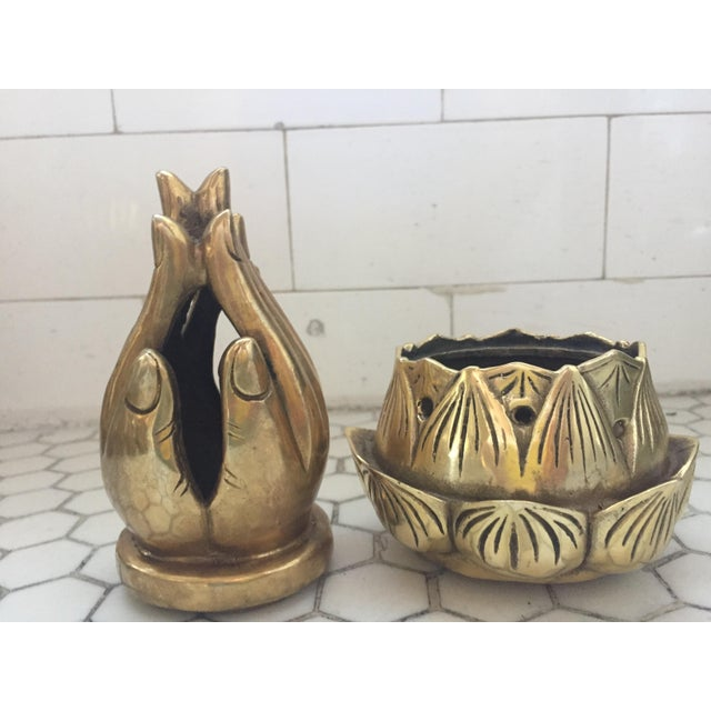 Hands on Lotus Brass Incense Burner - Image 5 of 9