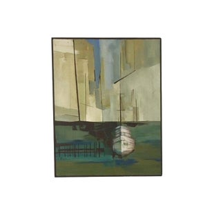 1960s Vintage E. Haluke Boat Oil on Canvas Painting For Sale
