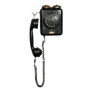 Vintage Dutch Bakelite and Metal Rotary Dial Telephone, Circa 1950s