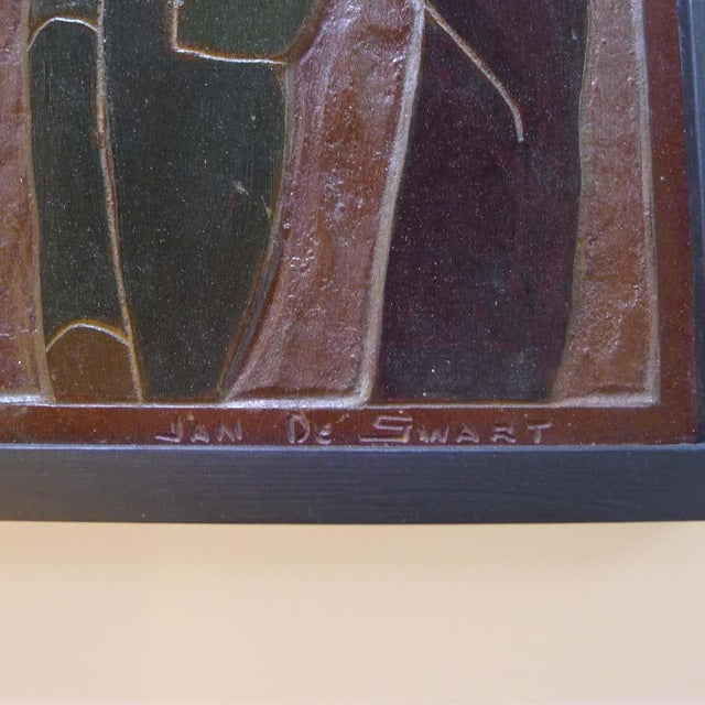 Mid-Century Modern Africana Tribal Relief Panel Art Signed Jan De Swart For Sale - Image 3 of 8