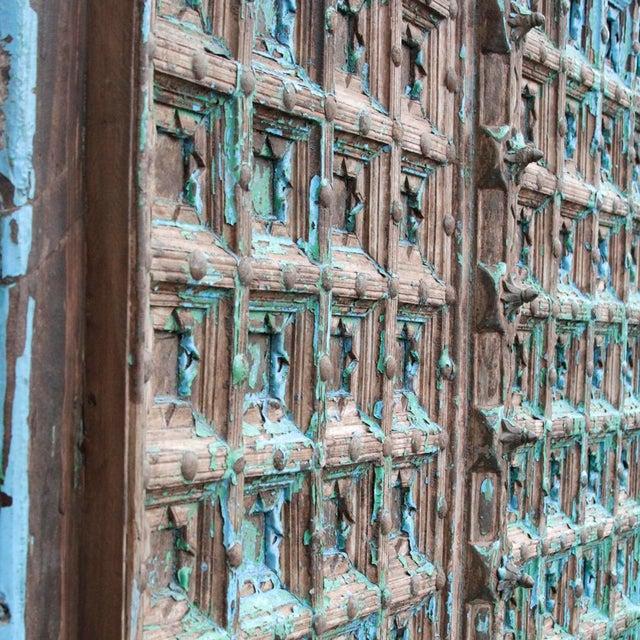 Teak & Iron Turquoise Doors - a Pair - Image 4 of 7