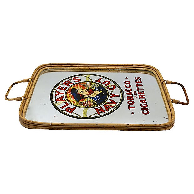 1960s cigarette advertising bamboo pub tray. Handles are adjustable. Length with handles extended 20.75. No maker's mark....
