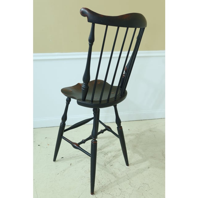 Black Windsor Style Fan Back Windsor Bar or Counter Chairs - a Pair For Sale - Image 8 of 12