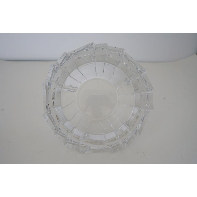 Transparent Mid-Century Swedish Modern Orrefors Crystal Faceted Bowl For Sale - Image 8 of 12