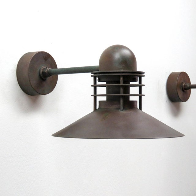 Outstanding 'Nyhaven' outdoor lamp by Alfred Homann & Ole V. Kjær for Louis Poulsen, patinated copper.