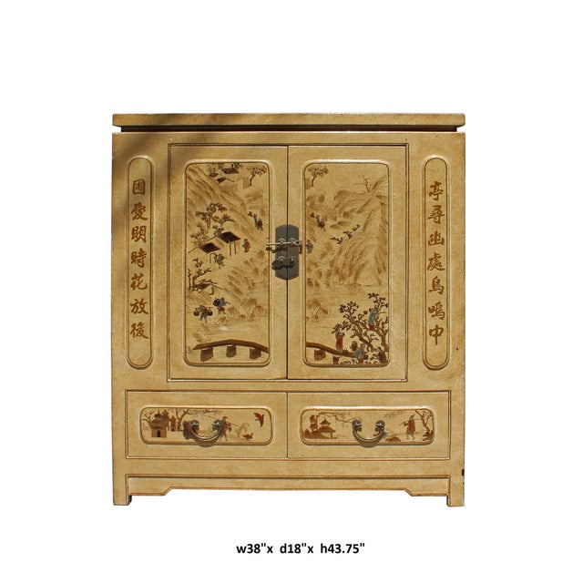 This is a storage cabinet with golden yellow beige color veneer printed oriental scenery graphic covered. The shelves can...
