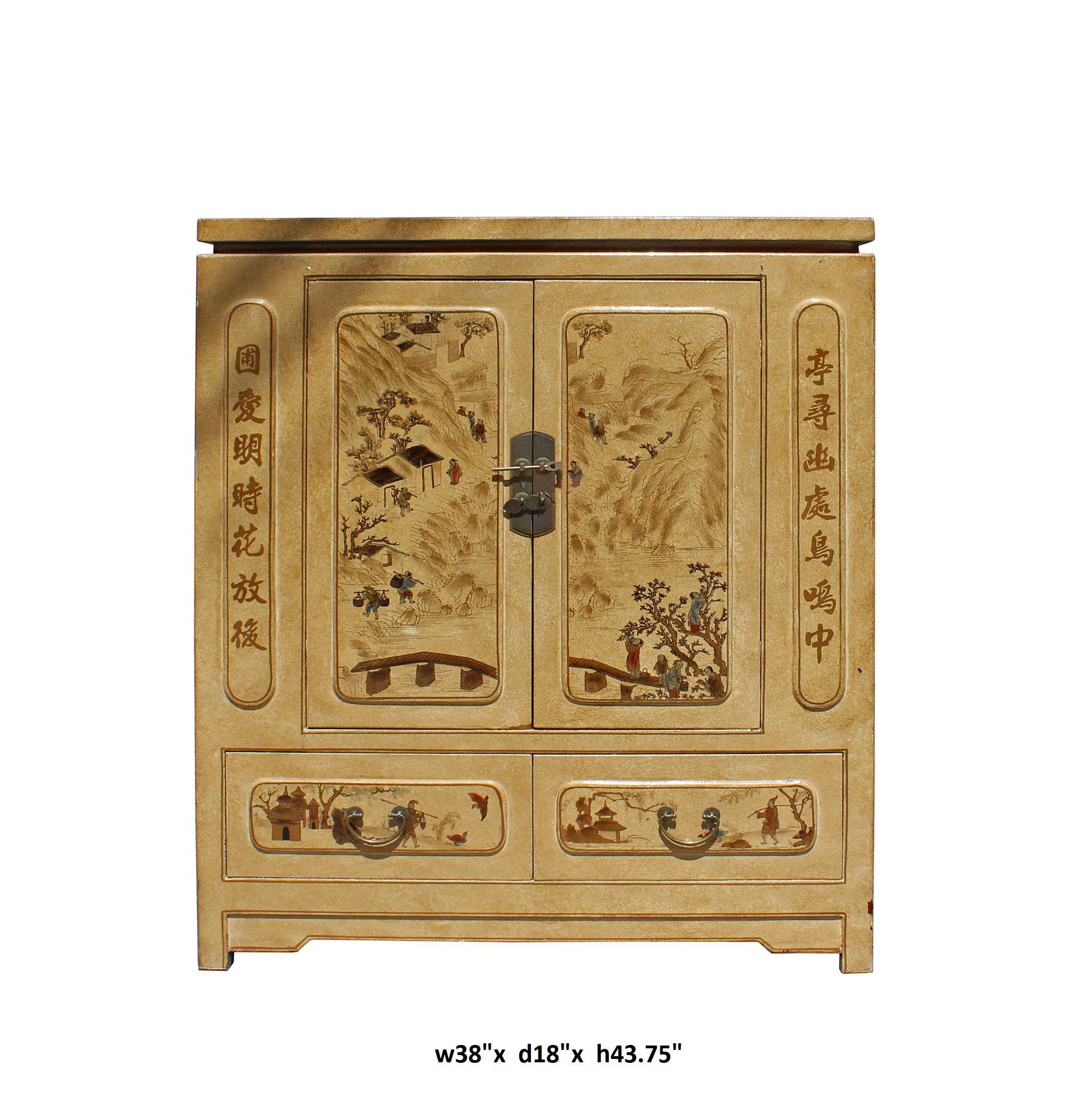 This is a storage cabinet with golden yellow beige color veneer printed oriental scenery graphic covered  sc 1 st  Chairish & Chinese Golden Beige Veneer Print Graphic Side Table Shoes Cabinet ...