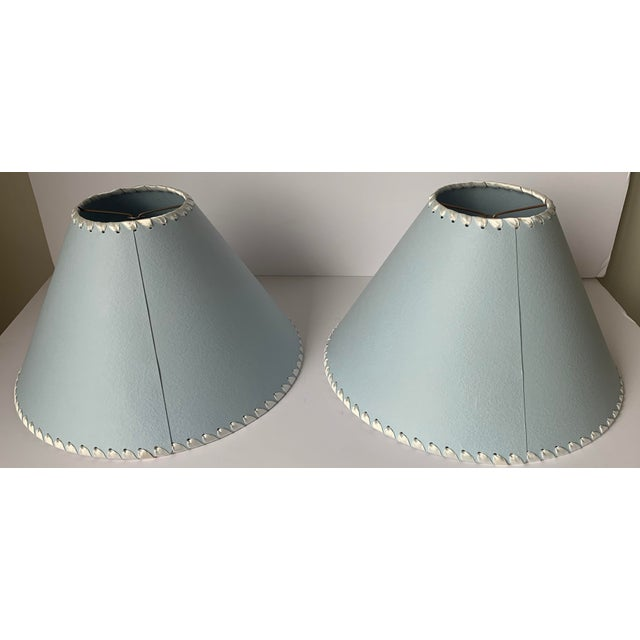 2000 - 2009 Light Blue B Monogram Lampshades - a Pair For Sale - Image 5 of 8