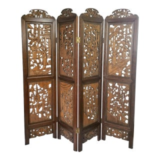 Vintage Chinoiserie 4-Panel Teak Wood Room Divider Screen For Sale