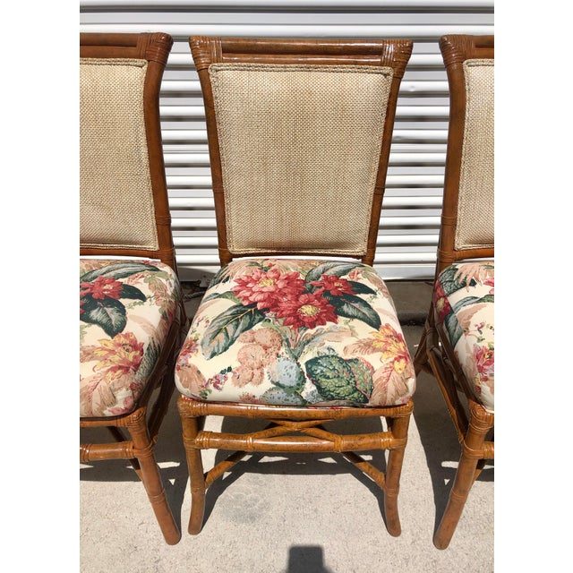1980s McGuire or Palecek Bamboo Leather Wrapped Dining Chairs- Set of 8 For Sale - Image 5 of 12