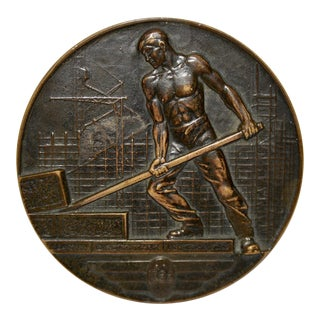 "Art Deco Swizz Bronze Medallion ""Palace of Nations"" c.1933"