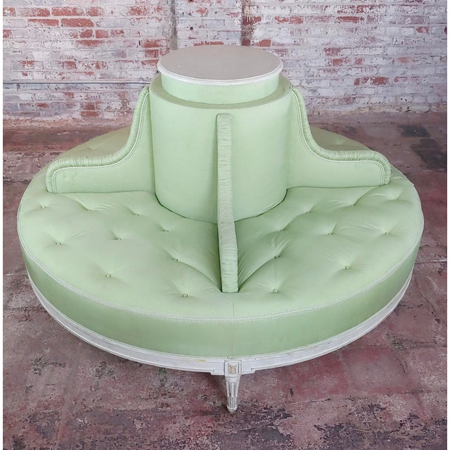 French Louis XVI Style Fabulous Painted & Upholstered Round Settee For Sale - Image 3 of 8