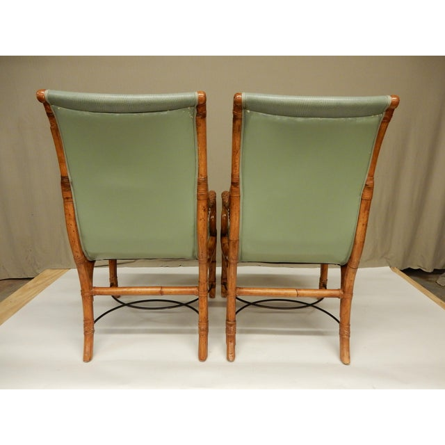 Art Nouveau 1950's Bamboo Arm Chairs by Maison Jansen - a Pair For Sale - Image 3 of 8
