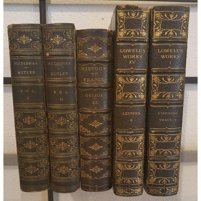 Antique Green Leather Books - Set of 5 For Sale - Image 11 of 11
