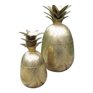 20th Century Chippendale Two Brass Pineapple Containers - Set of 2 For Sale