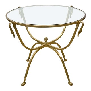 Italian Brass and Glass Swan Motif Table in the Style of Jansen For Sale