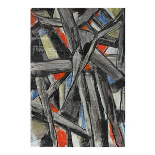 Abstract Expressionist Painting With Black, Mid 20th Century For Sale