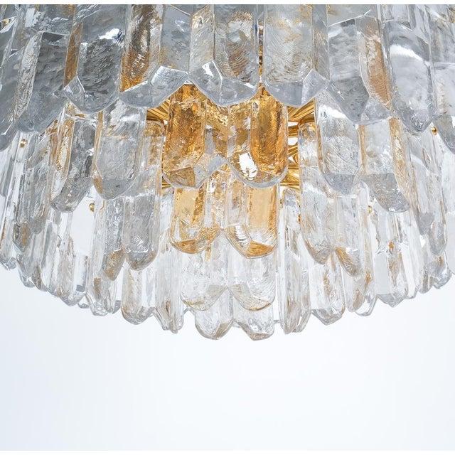 j.t. Kalmar Palazzo Chandelier Gold Brass Glass Lamp, Austria 1960 For Sale - Image 9 of 12