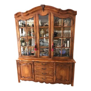 Ethan Allen Country French 2 Pc Lighted China Cabinet For Sale