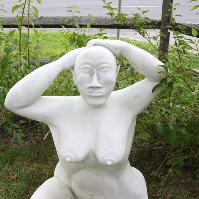 White Marble Nude Sculpture - Image 3 of 11