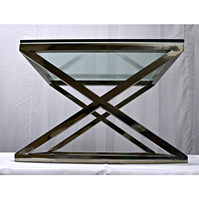 Stainless Steel & Glass Top Square Crossing Table - Image 3 of 8