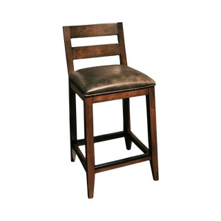 Thomasville Furniture Studio 1904 Cherry Low Ladder Back Leather Bar Stool For Sale