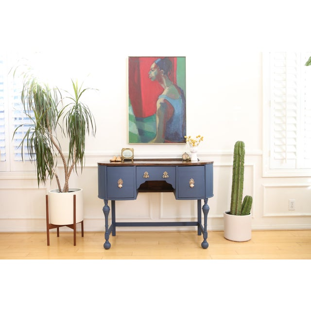 Kidney Shaped French Writing Desk, Satinwood Finish, Hand Painted Navy Blue Details, Louis XV style Petite Desk or Vanity,...