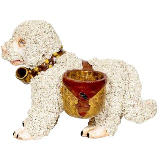 Italian Pottery Dog Cachepot, in the Staffordshire Style For Sale